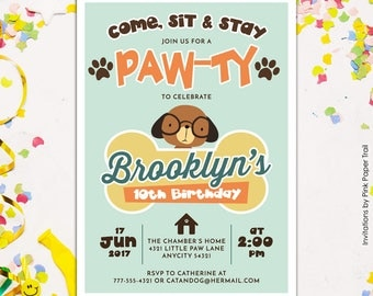 Cute Puppy Dog Birthday Party Invitation, Puppy Paw-Ty Adopt-A-Puppy Pet Party Boy or Girl Printable Birthday Invitation, Retro Colors