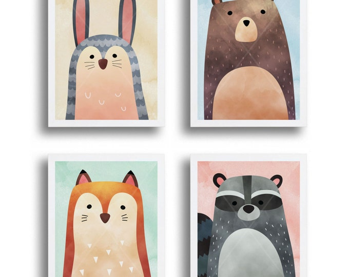 Nursery Wall Art Set of Forest Friends, Woodland Animals, Printable Wall Art, Bear, Bunny, Fox, Raccoon, Instant Download Print Your Own