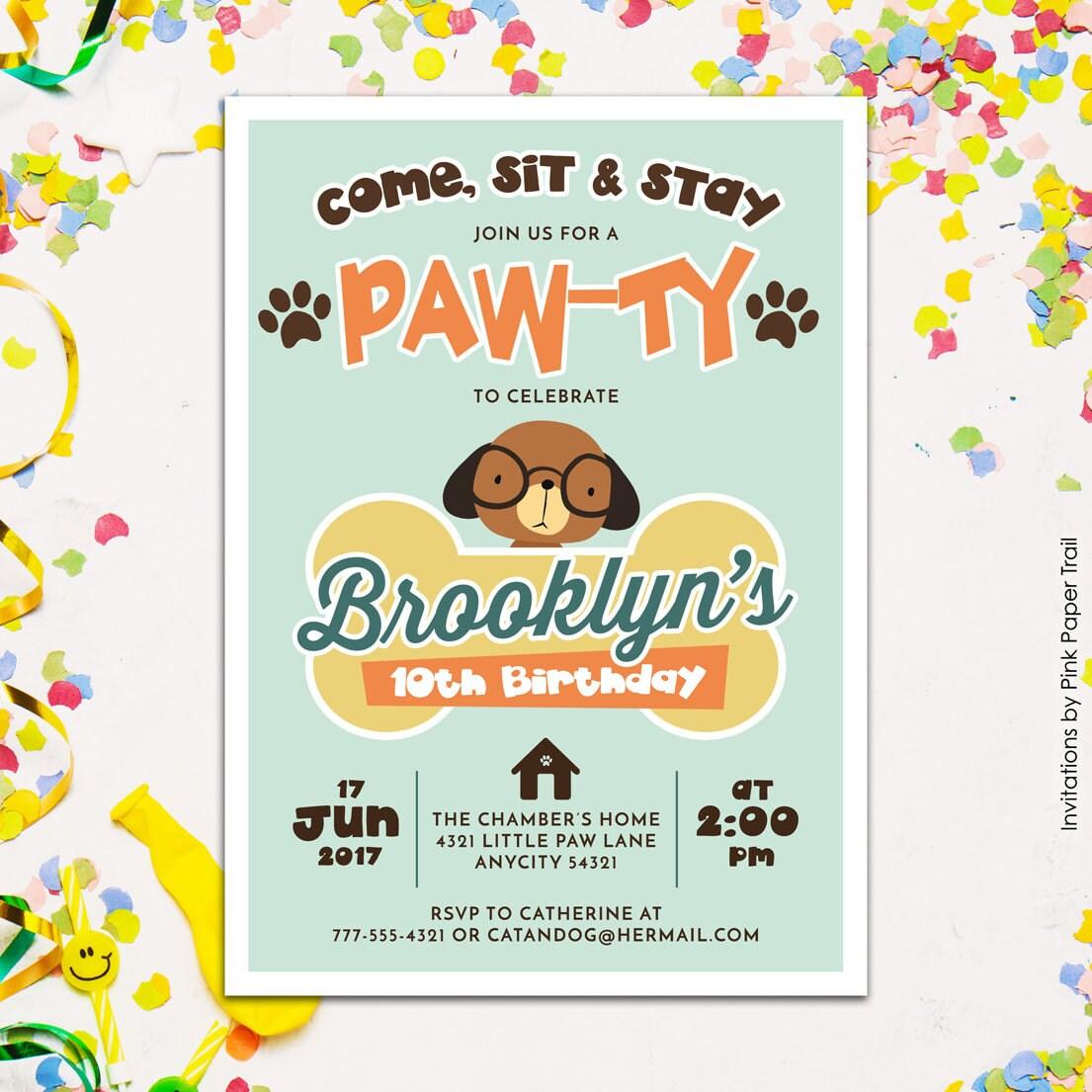 Cute Puppy Dog Birthday Party Invitation Puppy Paw-Ty