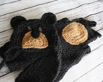 Baby Bear Costume - Bear Hat and Overalls - Bear Booties - Baby Bear Photo Prop Hat - Baby Bear - by JoJo's Bootique