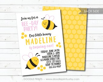 Bee Invitation, Bumble Bee Birthday Party Invitation, Honey Comb, Bee-Day Girl Printable Invitation, Digital Party Invite 5x7 or 4x6""