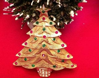 Mid Century Christmas Tree Pin Gold and Rhinestones