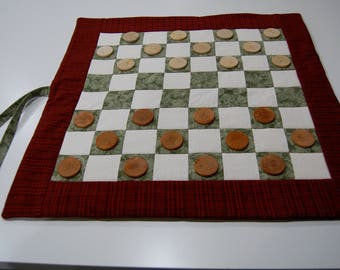Travel Checkers, Quilted Checker Board Set, 24 Wood Checkers Included