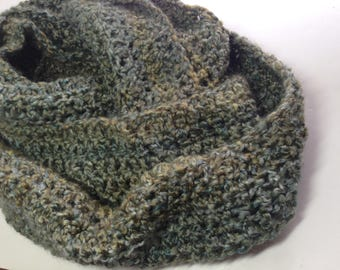Green Crocheted Cowl, Long Cowl, Winter Scarf, Soft Acrylic Circle Scarf