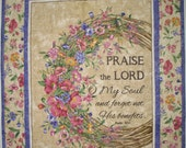 RESERVED FOR SUSAN    Scripture Wall Hanging, Table Topper, Psalm 103, Faith, Christian,  quilted, fabric from Timeless Treasures