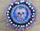 Sugar skull bead embroidered brooch design fashion accessories
