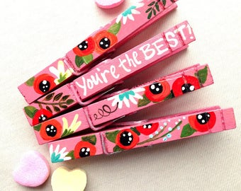 YOU'RE the BEST flower clothespins  magnets hand painted pink best friend gift appreciation