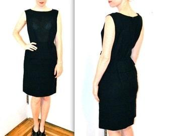 Sale 15% off 60s Vintage Black Dress Size Medium// 60s Vintage Pleated Dress Size Medium// Vintage Black Party Dress