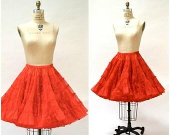 ON SALE Vintage Red Crinoline Skirt Medium with Red Ruffled Bloomers Medium// Vintage Red Square Dance Petticoat Skirt rockability