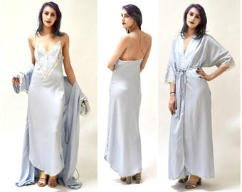 Vintage Peignoir Set Size Small Blue White Satin and lace Wedding Honeymoon Robe Nightgown// Vintage Nightgown by Ralph Montenero Blanche