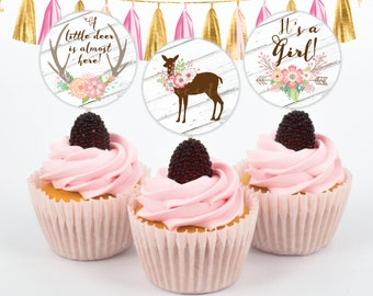 Deer Cupcake Toppers - Doe - Baby Shower - Girl - 2inches - Instant Download