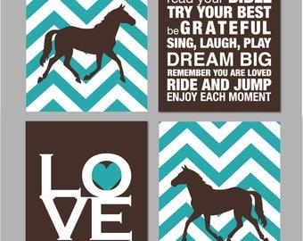 "Horse Room Decor Girls Room Horse Nursery Art Girl Room Decor Horse Silhouette Chevron Nursery Elephant Nursery Set of four 8""x10""s"