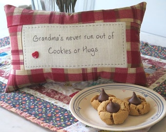 Grandmas and Cookies - Hand Embroidered Pillow