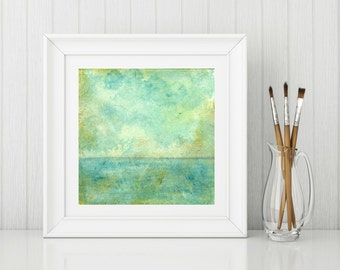 "Sea Print, Landscape Print, Mixed Media Print, Impressionism Print, Wall Art, Aqua, Teal, Turquoise, 8""x8"" or 12""x12"", ""Sky & Sea"""