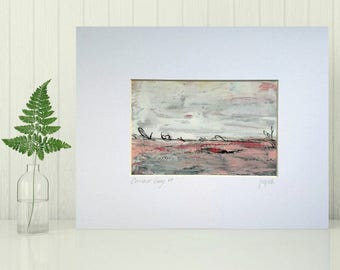 """Abstract Art Painting, 4""""x6"""" original in 8""""x10"""" Mat, Matted Mixed Media Art, Abstract Painting, Contemporary Art Red Pink """"Currant Gray VII"""""""