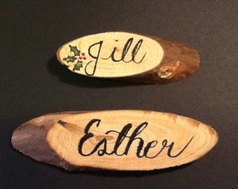 Hand Lettered Wood Place Cards