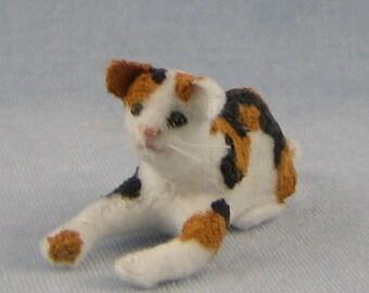 Resting Calico Cat Soft Sculpture Miniature by Marie W, Evans