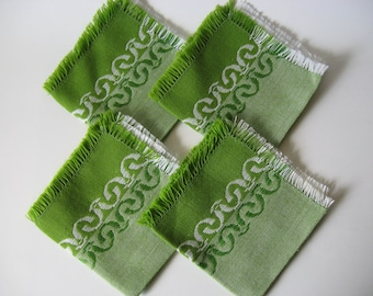 Set of 4 cheery woven linen napkins dinner serviettes spring green embroidered stripes