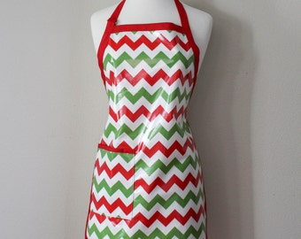SALE Adult Waterproof Apron Holiday Apron in Christmas Chevrons Christmas Apron