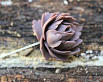 Brown Lotus Flower Pin
