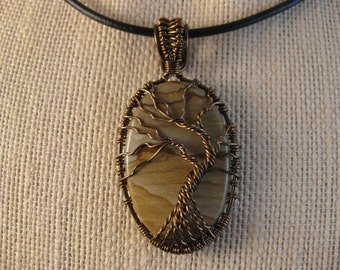 Tree of Life wire wrapped pendant with landscape jasper