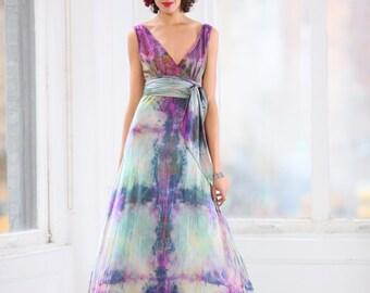 green blue purple v neck wedding dress w crinoline skirt boho chic bridal gowns mother of the bride dresses island tie dy maxi dress