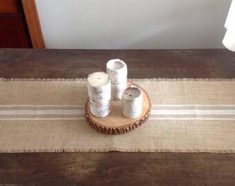 White Striped Burlap Grain Sack Table Runner Wedding/Baptism 10-14x84 Rustic Table Decor by sweetjanesplan