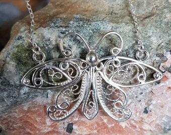 Handcrafted artisan sterling silver filigree Luna the Moth.