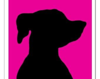 Pit Bull Dog Silhouette-Pop Art Print