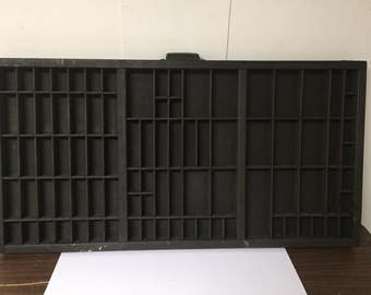 Vintage Hamilton Printer Tray Wood Dark Brown Letterpress