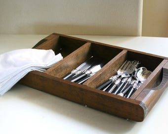 Vintage Heavy Duty Utensil Caddy, Silverware Storage, Rustic, Wooden Tray, Handles, BBQ Party