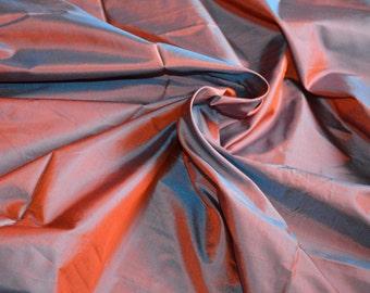 Silk Taffeta  in Orange with cyan, Fat Quarter - TF 96.