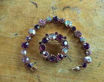 Purple Rhinestone Brooch Bracelet Set Unsigned WEISS