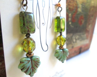 Mixed Greens Czech Glass Earrings, Boho Chic Gypsy Look with Turquoise Leaf Beads and Hypoallergenic Niobium Earwires