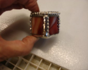 Stained Glass Tiny Ring Box - Fire Red / Orange and a touch of Green 1 1/4 x 1 1/4