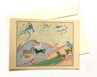 Persian painting postcard/original Persian miniature cards/original Persian painting/ postcards/orient lover gift/Horses/postcards set