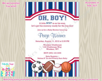 Sports Theme Baby Shower Invitation Invite MVP Baby Shower Sprinkle printable - DIY Print Your Own