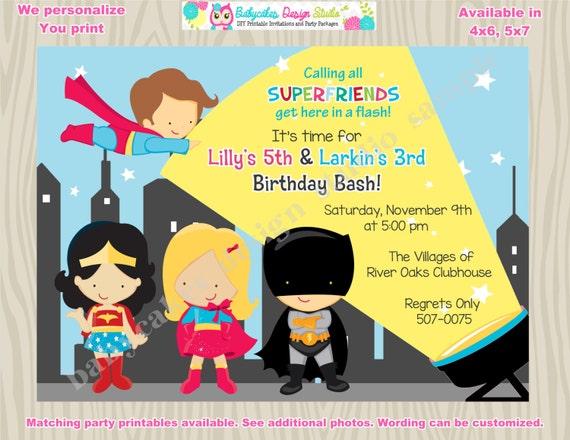 Boy Girl Superhero Birthday Invitation sibling superhero birthday invitation invite Superfriends boy girl superhero paty printable