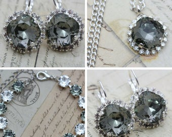 Gray Jewelry Set Grey Bracelet Necklace Earring Set Swarovski Crystal Mother of Bride Gift Maid Of Honor Also Avail As Clip On Earrings