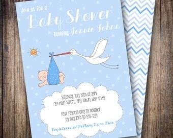 Stork Baby Boy Shower Invitation, Stork Baby Shower Invite, Printable Baby Boy Shower Invitation - Vintage Stork and Baby in Blue, White