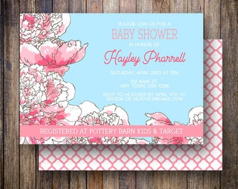 Peony Baby Shower Invitation, Peony Baby Shower Invite, Printable Floral Baby Shower Invitation - Sweet Peonies in Aqua Blue and Pink