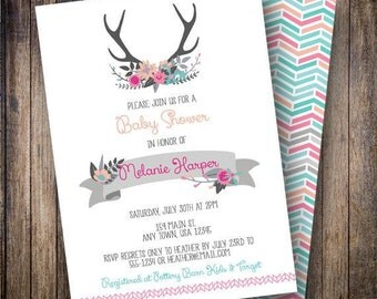 Rustic Antlers Baby Shower Invitation, Floral Antlers Baby Shower Invite, Printable Boho Antlers Baby Shower Invitation in Magenta, Teal