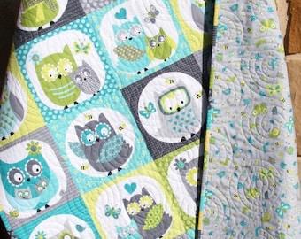 Owl Baby Quilt, Boy Patchwork, Bedding Blanket, Nursery Crib Cot, Gray Teal Green Aqua Blue, Chevron Child Youth, Ready To Ship