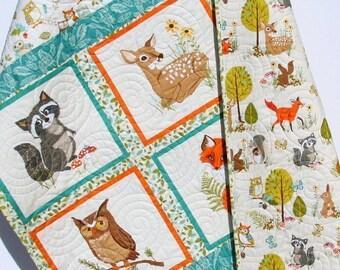 Forest Baby Quilt, Gender Neutral Boy or Girl, Modern Trendy, Baby Bedding, Nursery Blanket, Toddler Forest Frolics, Fox Deer Brown Teal Tan