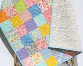 Baby Girl Quilt, Patchwork Blanket, Nursery Decor, Crib Bedding, Girl Baby Quilt, Baby Shower Gift, Handmade Baby Quilt, Coral Pink Purple
