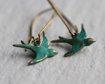 Swallow Bird Flying Earrings ... Turquoise Green Handpainted Verdigris Vintage