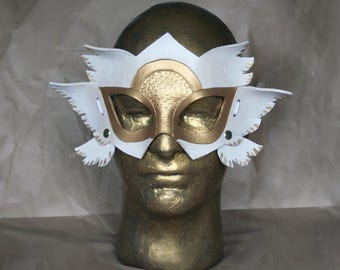 Valkyrie Angel Warrior Delux Six wings - Handmade Leather Costume Fantasy Mask - Renaissance Festival Masquerade