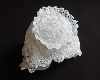 Vintage French Hand Crocheted Christening Bonnet