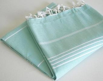 SALE 50 OFF/ Turkish Beach Bath Towel / Classic Peshtemal / Ice Blue / Wedding Gift, Spa, Swim, Pool Towels and Pareo