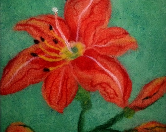 Felted fiber painting: Orange tiger lily